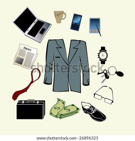 Vector illustration of bussiness man accessories set