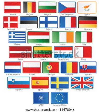 Vector illustration of button flags of the 27 members of the European Union as of 2008 plus NATO and the EU in real official proportions. Grouped individually.