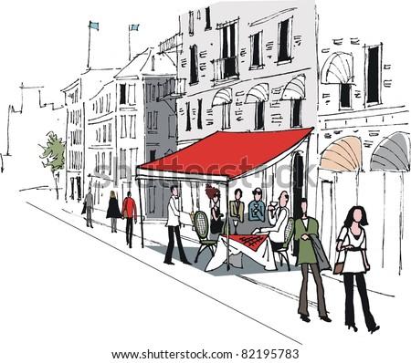 Vector illustration of cafe street scene in Stockholm, Sweden