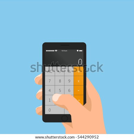 Vector illustration of calculator app on your phone in hand.