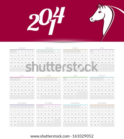 Vector illustration of Calendar 2014