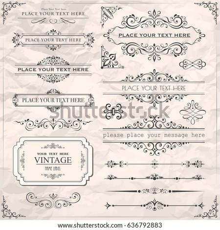 Vector illustration of calligraphic design elements