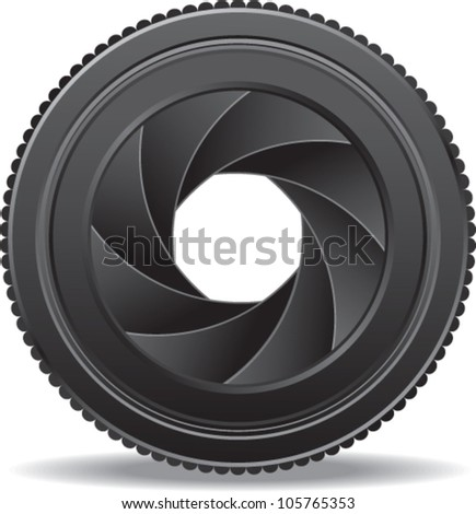vector illustration of camera lens shutter
