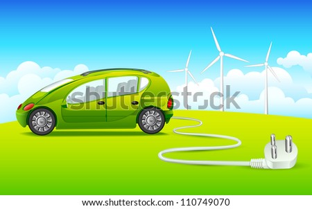 vector illustration of car connected with windmill through electric plug