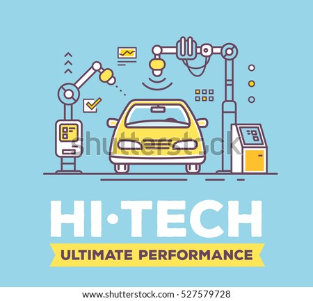 Vector illustration of car high tech service with header on blue background. High quality car service, maintenance concept. Flat thin line art style design for car repair, wash, self-service station