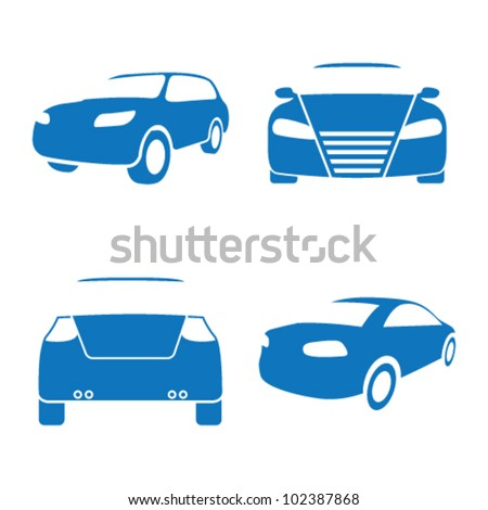 Vector illustration of car icons on a white background