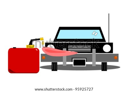 vector illustration of car licking last drop of gas or petrol from can