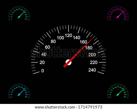 Vector illustration of car speedometer icons on dark background. Foto stock ©