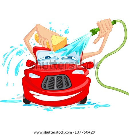 vector illustration of car washing with water pipe and sponge