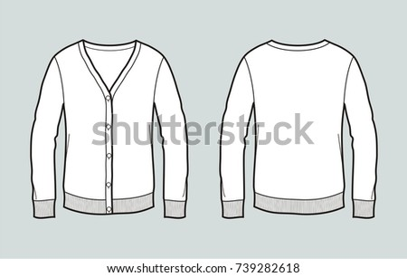 Vector illustration of cardigan. Front and back. Casual clothes