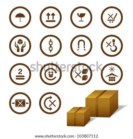 vector illustration of cargo symbol with cardboard box