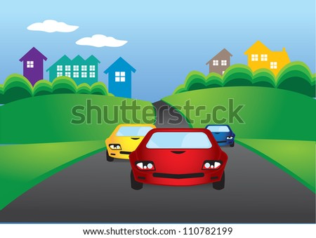 Vector illustration of cars racing on the road