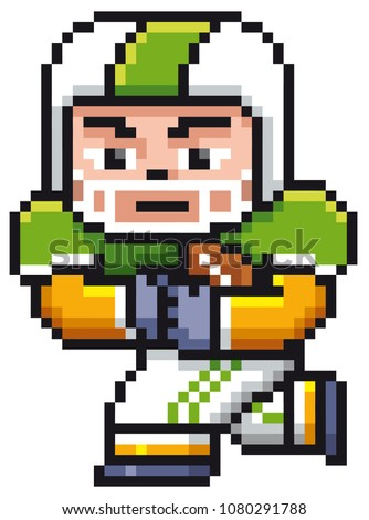 Vector illustration of Cartoon American football player - Pixel design