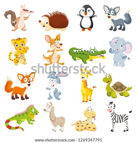Vector Illustration Of Cartoon Animals Collection