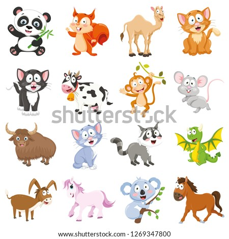 Vector Illustration Of Cartoon Animals Collection #1269347800