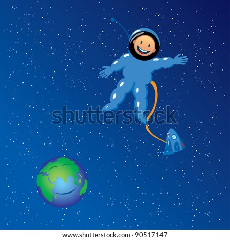 Vector illustration of cartoon astronaut in outer space