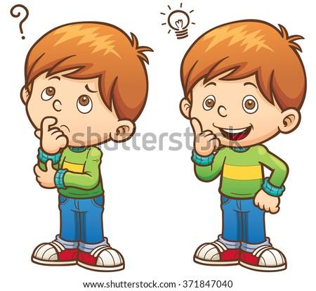 Vector illustration of Cartoon Boy thinking