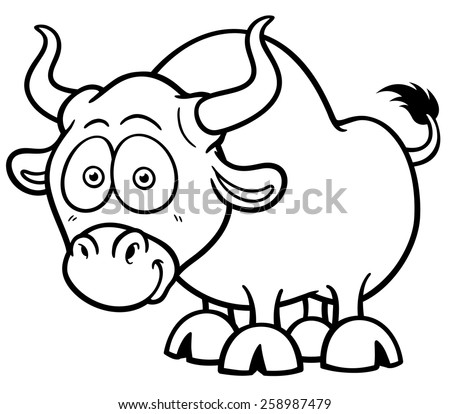 Vector illustration of cartoon bull coloring book