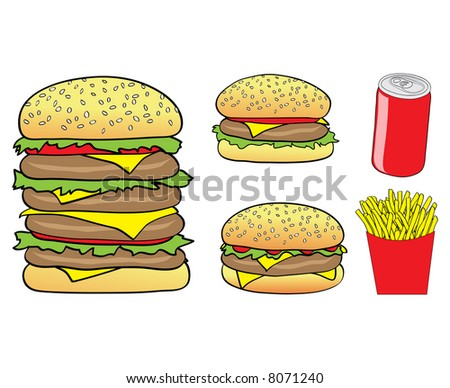 Vector Illustration of Cartoon Burgers, Chips and a Can isolated on a white background