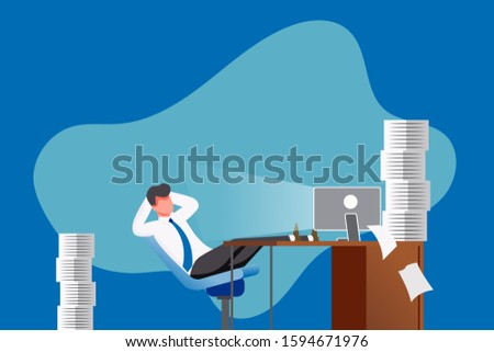 vector illustration of cartoon character lazy office man at work, delaying work. A lot of work to do.