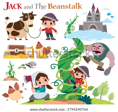 Vector Illustration of Cartoon characters Jack and the beanstalk. Fairy tale characters set. Photo stock ©