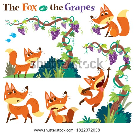 Vector Illustration of Cartoon characters The Fox and the Grapes. Children's Fairy tale.