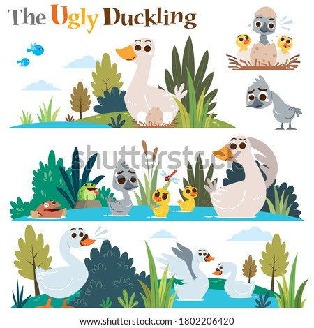Vector Illustration of Cartoon characters The ugly duckling. Children's Fairy tale. Foto stock ©