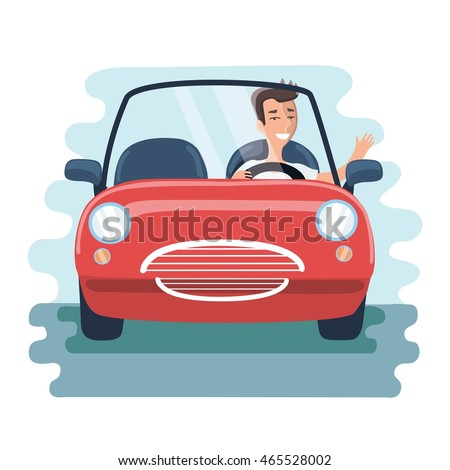 Vector illustration of cartoon che?reful young man driving red car on the road. Front view