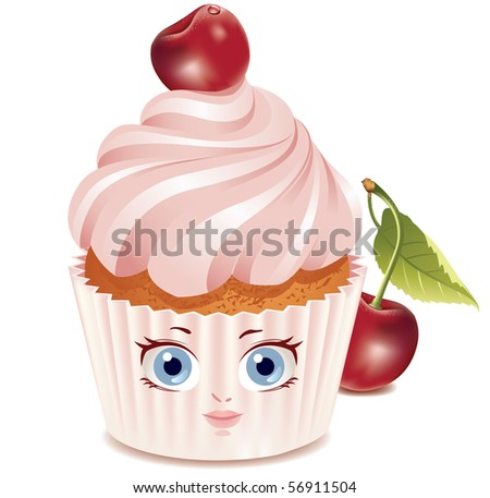illustration of cartoon chocolate cupcake with big eyes and mouth.