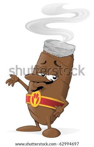 Vector illustration of cartoon cigar character standing and waving