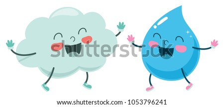 Vector Illustration Of Cartoon Cloud And Raindrop #1053796241