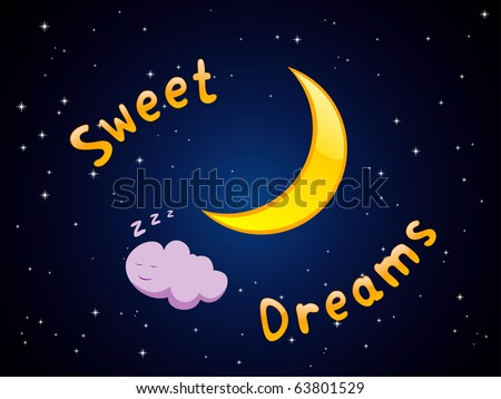 Vector illustration of cartoon crescent and sleeping cloud in the sky - stock vector