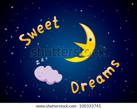 "Vector illustration of cartoon crescent and sleeping cloud with ""Sweet Dreams"" text"