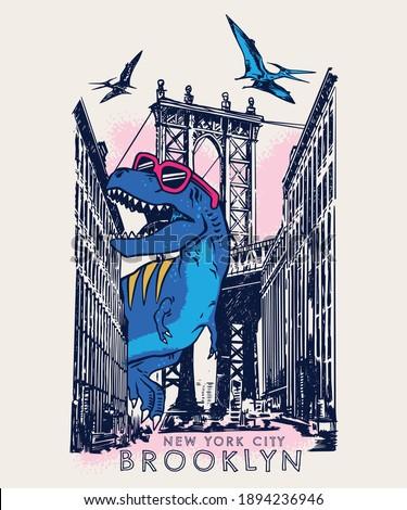 Vector illustration of cartoon dinosaur walking around the city