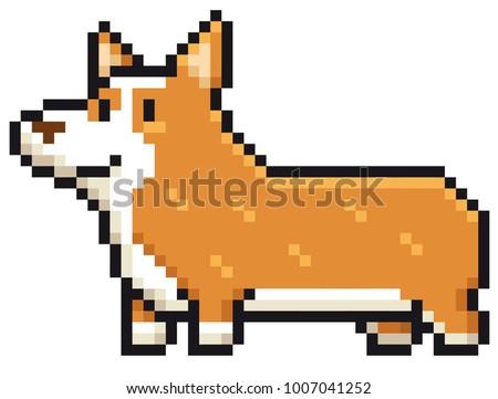 Vector illustration of Cartoon Dog breed welsh corgi - Pixel design