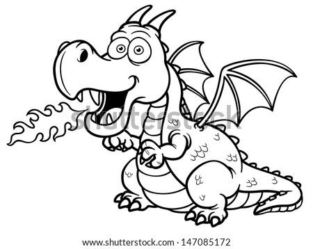 vector illustration of cartoon dragon fire coloring book - Dragon Outline