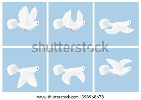 Stock Photo Vector illustration of cartoon flying dove animation sprite