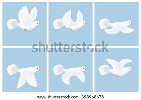 Vector illustration of cartoon flying dove animation sprite