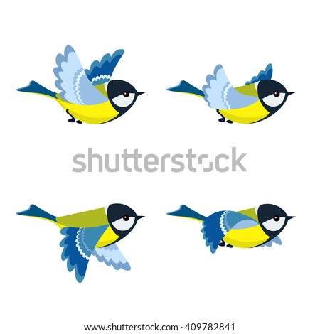 Vector illustration of cartoon flying great tit animation sprite isolated on white background