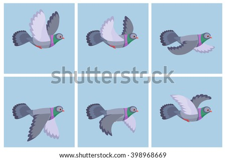 Stock Photo Vector illustration of cartoon flying pigeon animation sprite