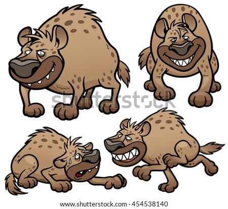 Vector illustration of Cartoon Hyena Character Set