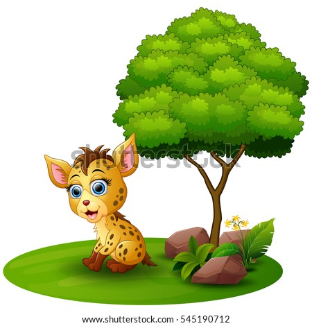 Vector illustration of Cartoon hyena under a tree on a white background