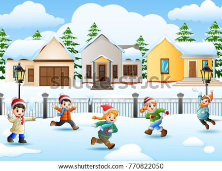 Vector illustration of Cartoon kids playing in the snowing village
