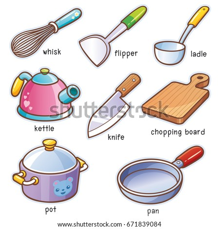 Vector illustration of Cartoon kitchen tools vocabulary