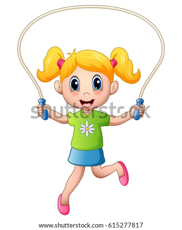 Vector illustration of Cartoon little girl playing jumping rope