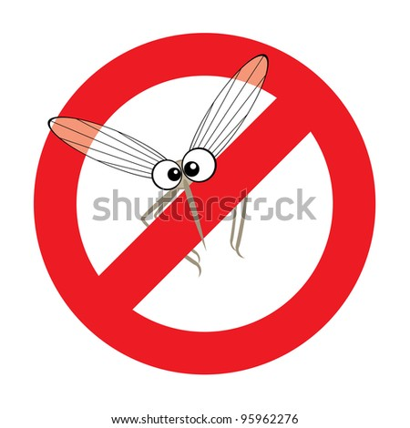Vector illustration of cartoon mosquito in stop sign