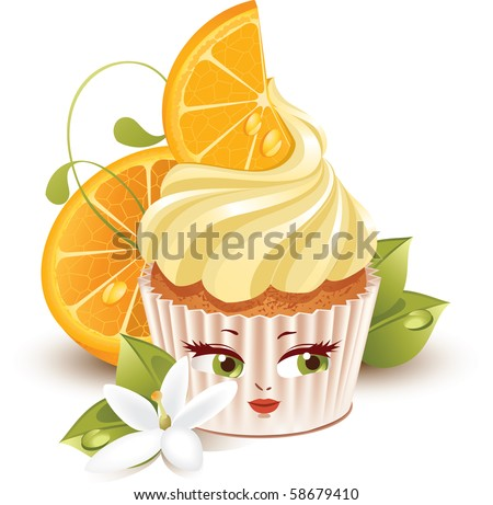 of cartoon orange cupcake character with big eyes and mouth.