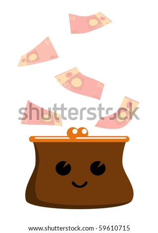 Vector illustration of cartoon purse and a lot of euros