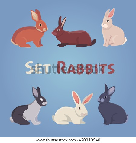 vector illustration of cartoon rabbits. set of drawing flat rabbit. collection of six cute mammal animals.