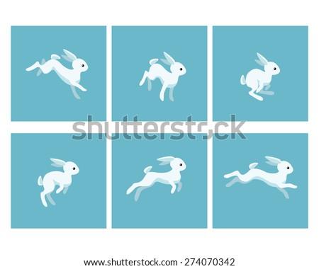 Vector illustration of cartoon running rabbit animation sprite sheet